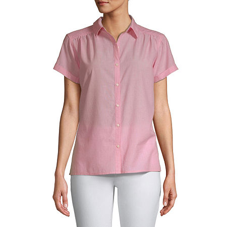St. John's Bay Womens Short Sleeve Regular Fit Button-Down Shirt, Petite Xx-large , Red