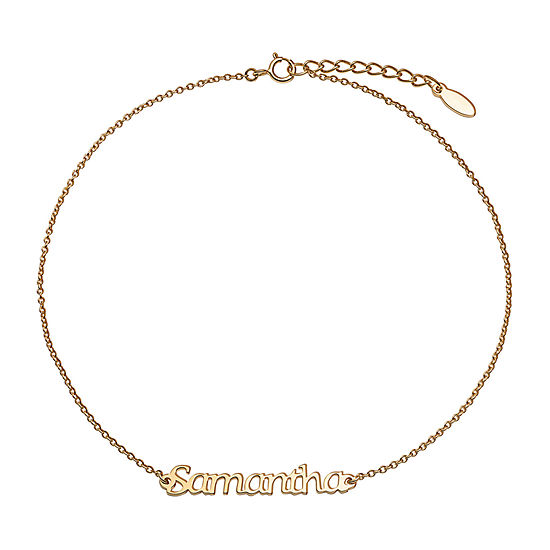 Gold Tone 14K Gold Over Silver 10 Inch Solid Cable Ankle Bracelet
