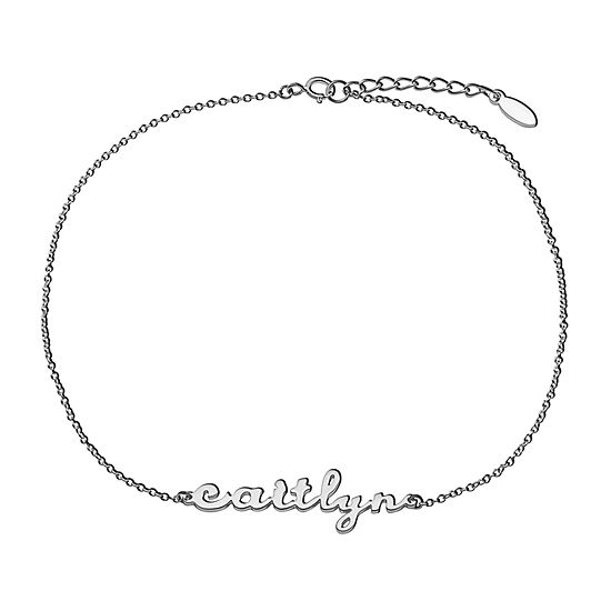 Silver Tone Sterling Silver 10 Inch Solid Cable Ankle Bracelet