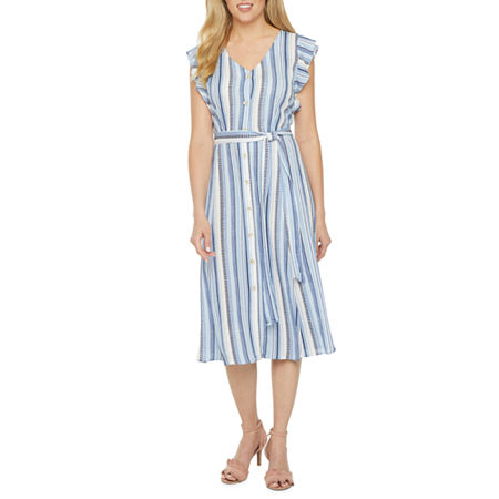 1940s Dresses | 40s Dress, Swing Dress, Tea Dresses Alyx Short Sleeve Striped Shirt Dress 10  Blue $27.99 AT vintagedancer.com
