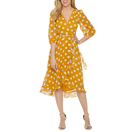 Polka Dot Dresses: 20s, 30s, 40s, 50s, 60s Danny  Nicole 34 Sleeve Polka Dot Fit  Flare Dress 16  Yellow $37.49 AT vintagedancer.com