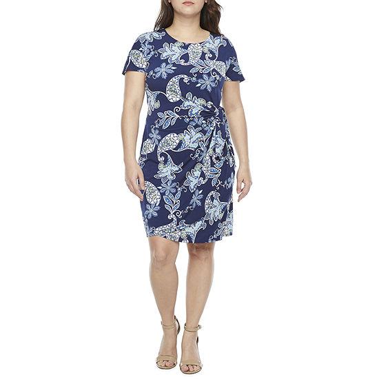 Robbie Bee-Petite Short Sleeve Paisley Puff Print Sheath Dress