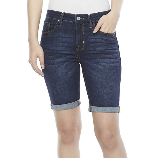 "Arizona Womens Mid Rise 8 3/4"" Bermuda Short-Juniors"