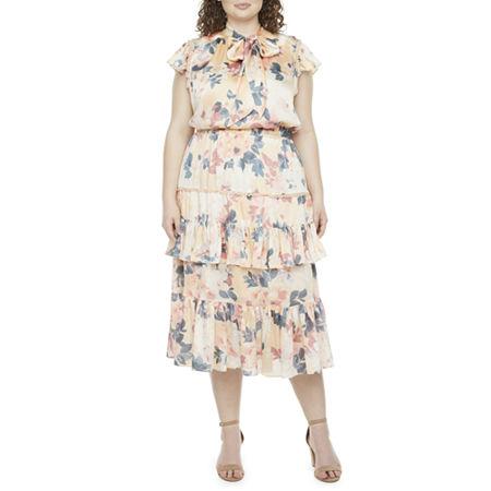 Vintage Style Dresses | Vintage Inspired Dresses Ryegrass Short Sleeve Floral Midi A-Line Dress-Plus 2x  Yellow $58.80 AT vintagedancer.com