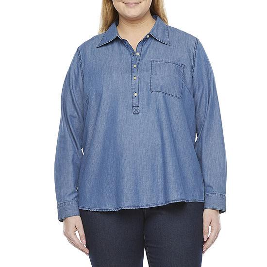 a.n.a-Plus Womens Long Sleeve Regular Fit Button-Down Shirt
