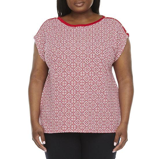 Liz Claiborne Womens Plus Boat Neck Short Sleeve T-Shirt