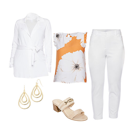 LIZ WHITE CARDI/WHITE EMMA PANT: Liz Woven Top, Cardigan, Ponte Ankle Pants & Heeled Sandals