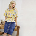 YELLOW PASSION TOP/DENIM SKIRT: Liz Flutter Sleeve Belted Top & Denim Button Down Skirt