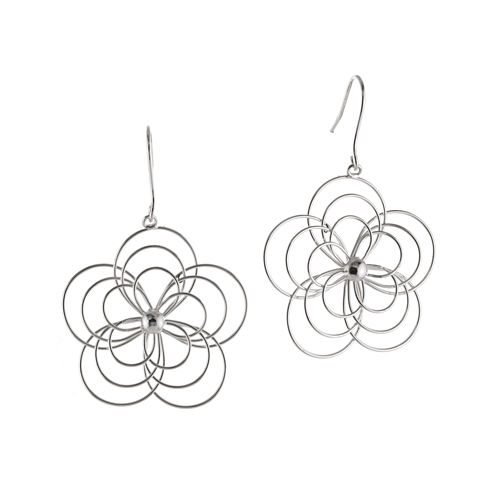 Wire Flower Silver-Plated Drop Earrings