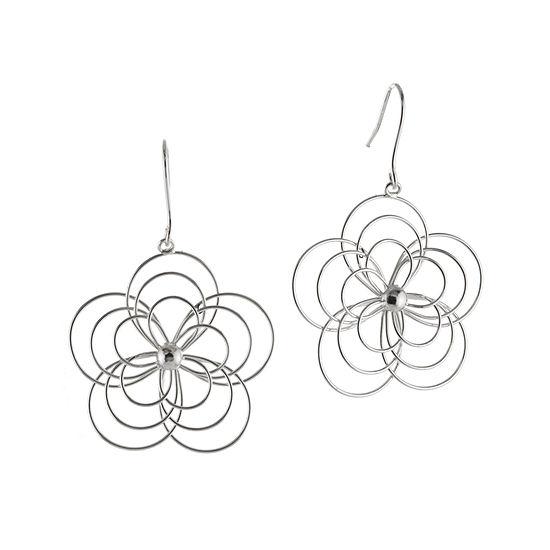 Wire Flower Silver-Plated Drop Earrings