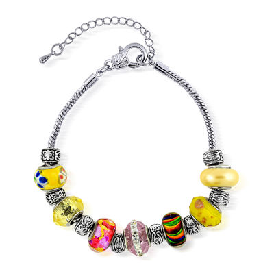 Dazzling Designs™ Multicolor Artisan-Style Glass Bead Silver-Plated Bracelet