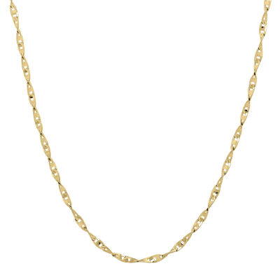 "Infinite Gold™ 14K Yellow Gold 18"" Flat Twisted Link Chain Necklace"