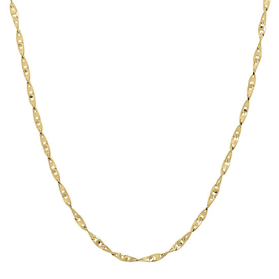 """Infinite Gold™ 14K Yellow Gold 18"""" Flat Twisted Link Chain Necklace"""