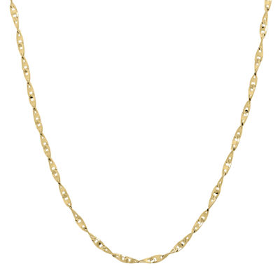 "Infinite Gold™ 14K Yellow Gold 20"" Flat Twisted Link Chain Necklace"