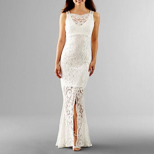 Blu Sage Sleeveless Lace Wedding Gown