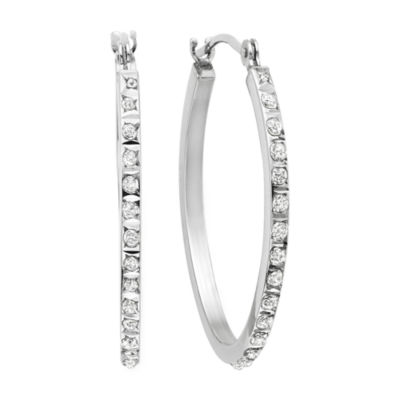 Diamond Fascination™ 14K Gold Oval Hoop Earrings