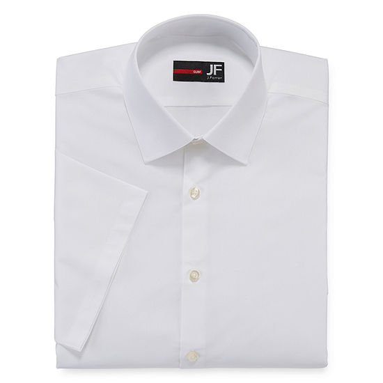 JF J. Ferrar Mens Stretch Short Sleeve Broadcloth Slim Dress Shirt
