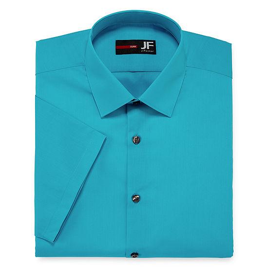 JF J. Ferrar® Stretch Short-Sleeve Broadcloth Slim Fit Dress Shirt