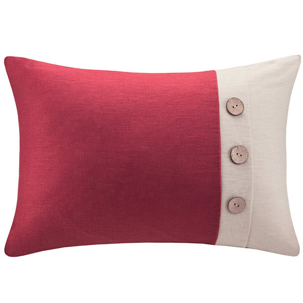Madison Park Linen Three-Button Oblong Feather Pillow