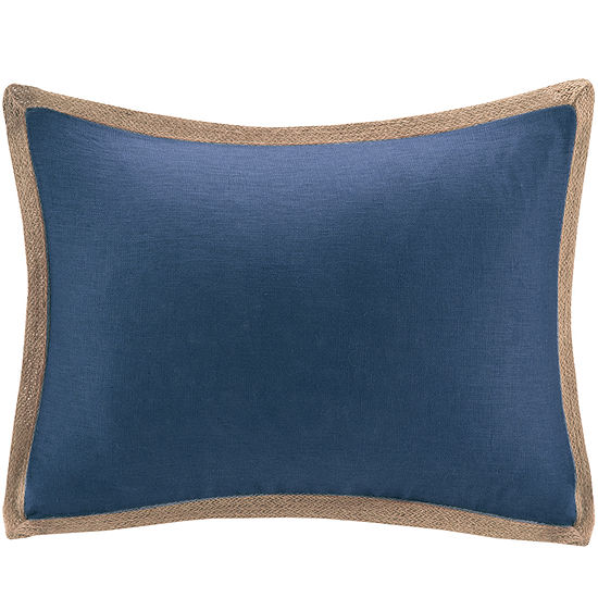 Madison Park Linen Jute Trim Oblong Feather Pillow