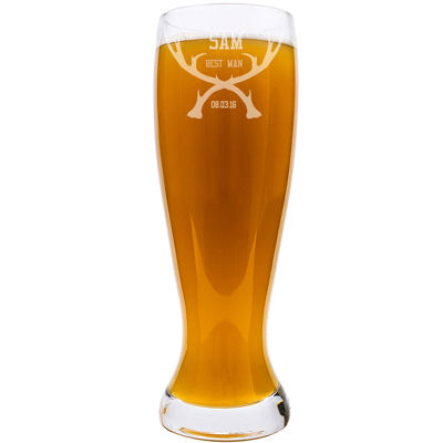 Cathy's Concepts Personalized Groomsman Antlers 54 oz. Xl Beer Pilsner Glass