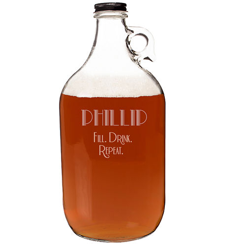 """Cathy's Concepts Personalized """"Fill. Drink. Repeat."""" 64 oz. Craft Beer Growler"""