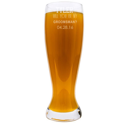 "Cathy's Concepts Personalized ""Will You Be My Groomsman?"" XL Beer Pilsner Glass"