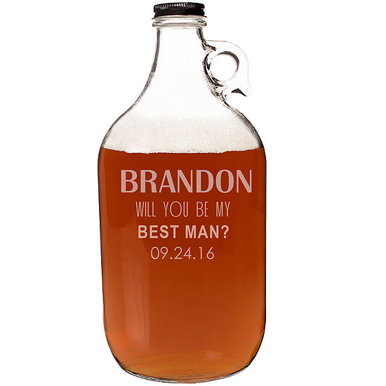 """Cathy's Concepts Personalized """"Will You Be My Best Man?"""" Craft Beer Growler"""