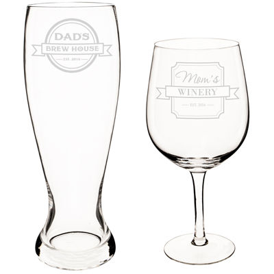 Cathy's Concepts Mom and Dad 2-pc. Xl Beer and Wine Glass Set