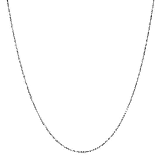 14K White Gold 16 Inch Solid Cable Chain Necklace