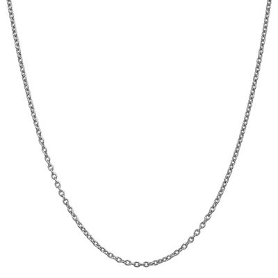 14K White Gold Solid Cable Chain Necklace