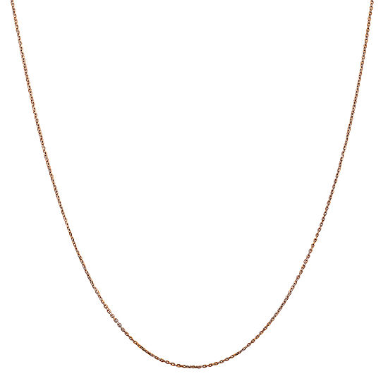 14K Rose Gold 16 Inch Solid Cable Chain Necklace