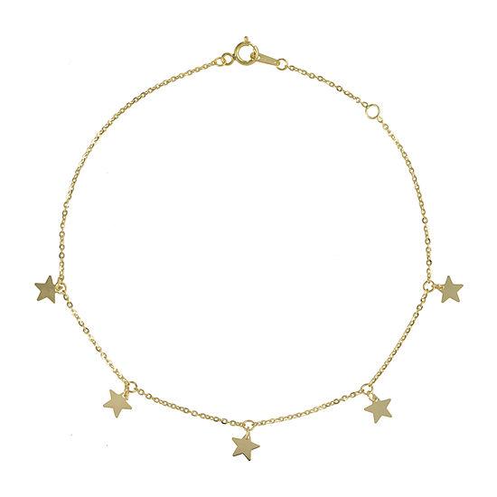 14K Gold 9 Inch Solid Herringbone Star Ankle Bracelet