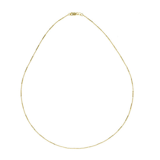 14K Gold 18 Inch Solid Bead Chain Necklace