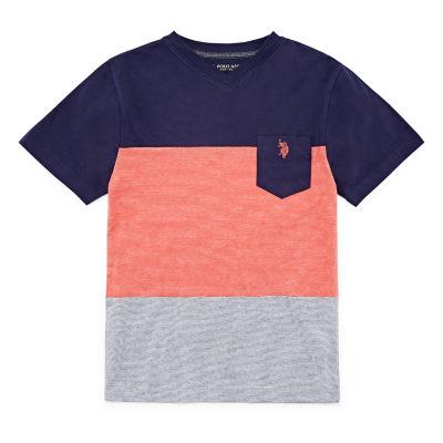 U.S. Polo Assn. Boys V Neck Short Sleeve Embroidered T-Shirt Preschool / Big Kid Husky
