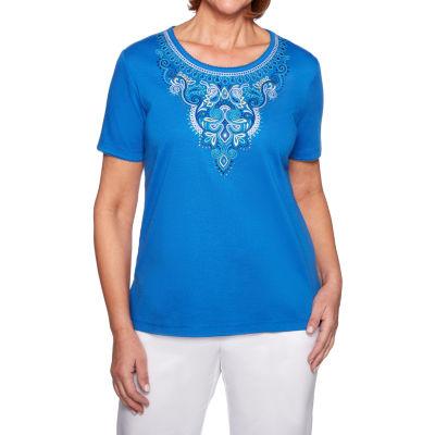 Alfred Dunner Waikiki-Womens Crew Neck Short Sleeve T-Shirt