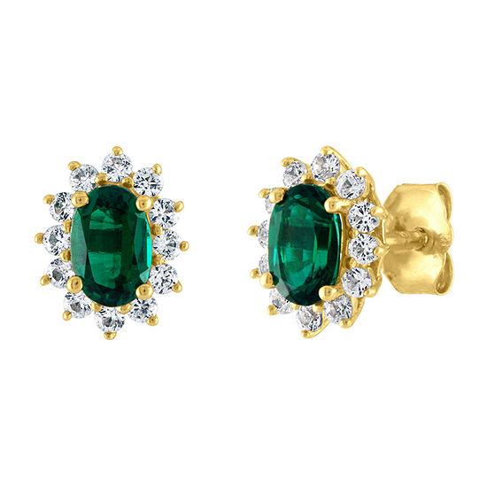 Lab Created Green Emerald 10K Gold 10mm Stud Earrings