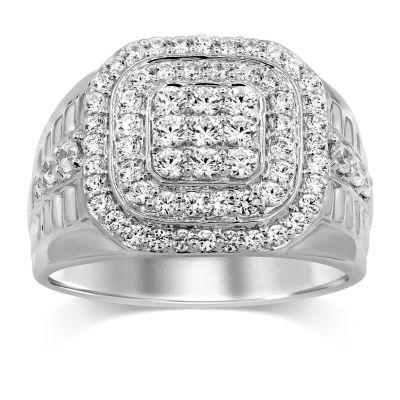 Mens 1 1/2 CT. T.W. Genuine Diamond 10K White Gold Fashion Ring