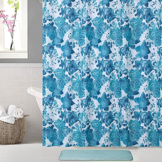 Watercolor Succulents Shower Curtain Set