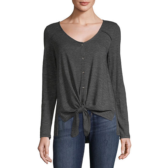 Eyeshadow Womens V Neck Long Sleeve Blouse-Juniors