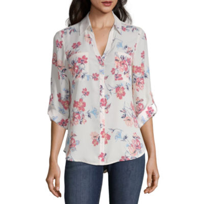 by&by Womens Collar Neck 3/4 Sleeve Blouse-Juniors