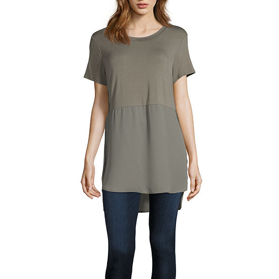 Fourteenth Place Womens Crew Neck Short Sleeve Blouse