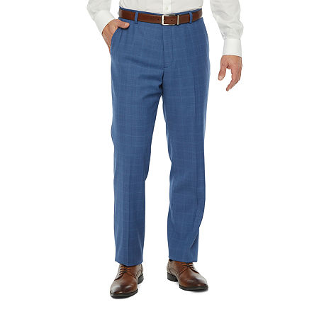 60s – 70s Mens Bell Bottom Jeans, Flares, Disco Pants Stafford Super Stretch Classic Fit Suit Pants 42 29 Blue $64.99 AT vintagedancer.com