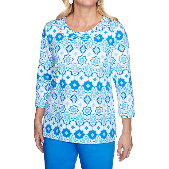 Alfred Dunner Sea You There Womens Round Neck 3/4 Sleeve T-Shirt