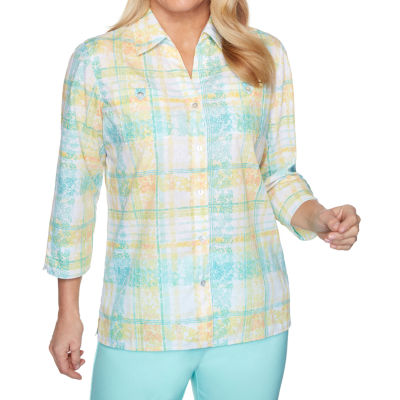 Alfred Dunner Spring Lake Womens 3/4 Sleeve Blouse