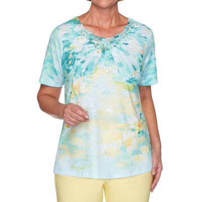 Alfred Dunner Spring Lake Womens Round Neck Short Sleeve T-Shirt