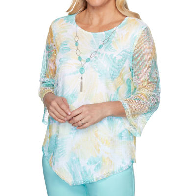 Alfred Dunner Spring Lake Womens Round Neck 3/4 Sleeve T-Shirt