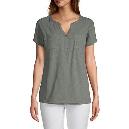 St. John's Bay Womens Henley Neck Short Sleeve Henley Shirt, Petite Small , Green