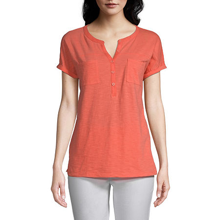 St. John's Bay Womens Henley Neck Short Sleeve Henley Shirt, Petite Large , Orange