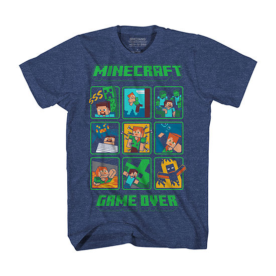 Little & Big Boys Crew Neck Minecraft Short Sleeve Graphic T-Shirt